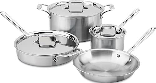 All-Clad-BD005707-R-D5-Brushed-18/10-Stainless-Steel-5-Ply-Bonded-Dishwasher-Safe-Cookware-Set