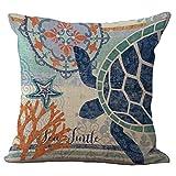 Marine Animal Throw Pillow Cover Sham Slipover ChezMax Cotton Linen Pillowslip Square Pillowcase For Home Car Seat Chair Deck