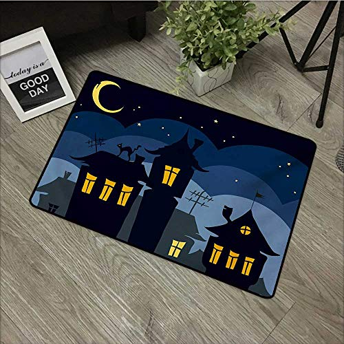 Moses Whitehead Welcome Door mat Halloween,Old Town with Cat on The Roof Night Sky Moon and Stars Houses Cartoon Art,Black Yellow Blue,for Entry, Garage, Patio, High Traffic Areas,35