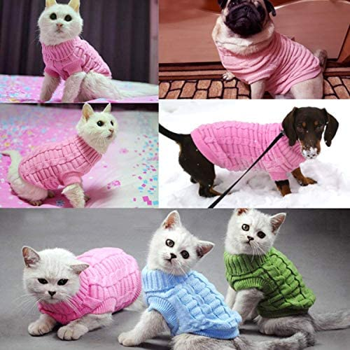 Aiwind Dog Cat Sweater Warm Braid Plait Turtleneck Knitwear Soft Fall Pullover Winter Pet Clothes for Dog Puppy Kitten Cat 20