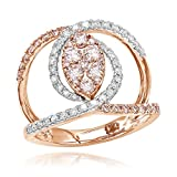 Luxurman 14K Unique Right Hand Natural 1 Ctw Diamonds Womens Ring (Rose Gold Size 7)