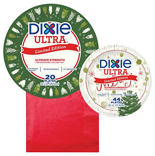 Dixie Winter Holiday Be Merry Paper Plate Bundle, Large, Small - Dinner 10