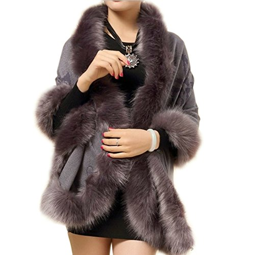 Artfasion Ladies/Womens Luxury Bridal Faux Fur Shawl Wraps Cloak Coat Sweater ()
