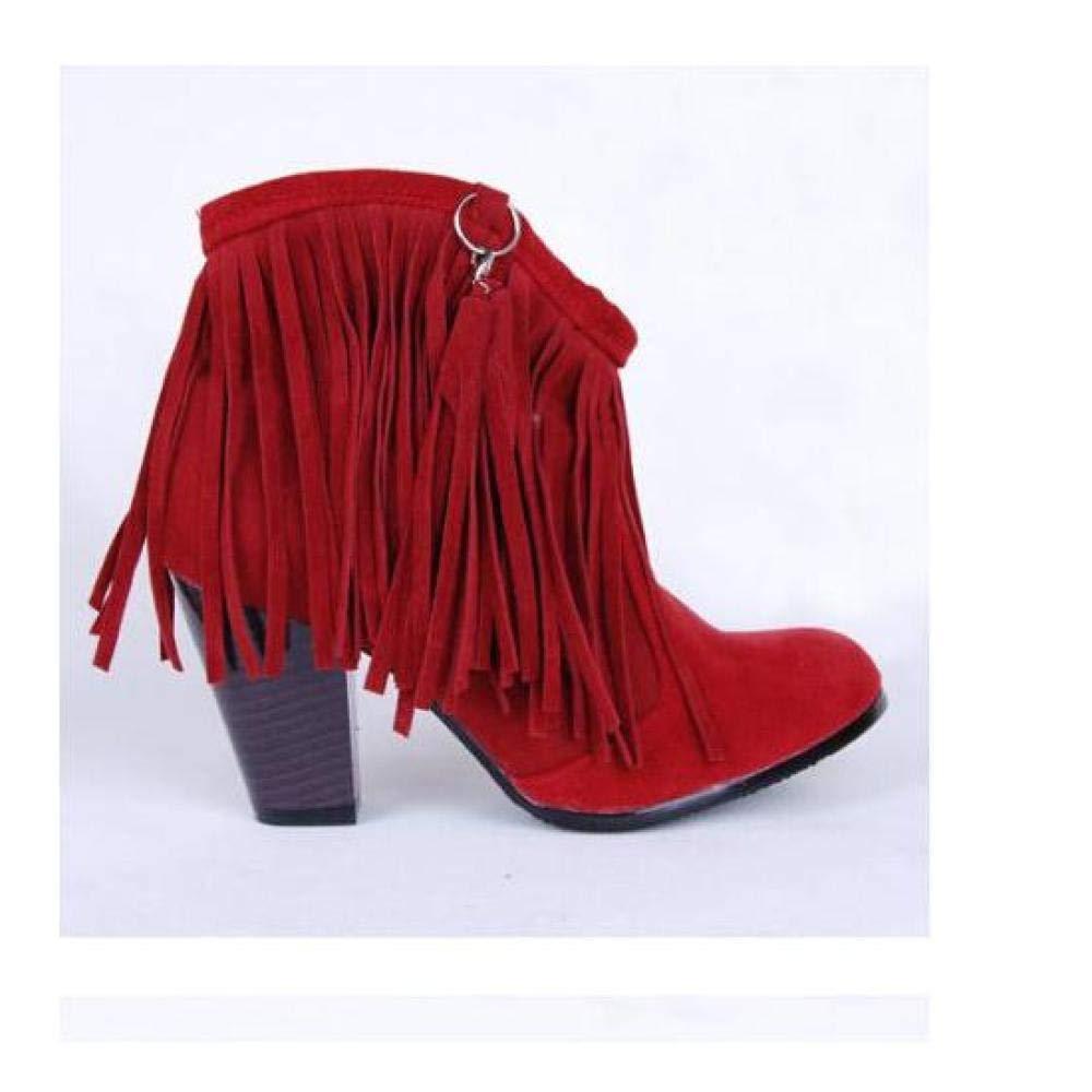 25.5cm UK8 EUR41 FidgetGear Womens Frange Tassels Block High Heels Pointed Toe Cowboy Pull On Ankle Boots SZ Red US10