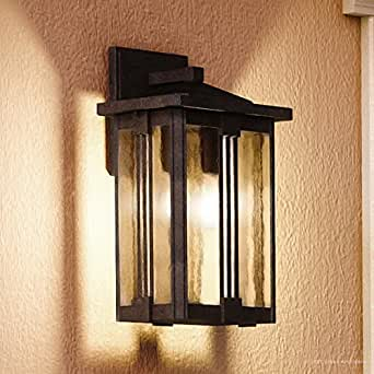 "Luxury Craftsman Outdoor Wall Light, Medium Size: 15""H x 8.5""W, with Mid-Century Modern Style Elements, Vertical Stripes Design, Natural Black Finish and Water Glass, UQL1051 by Urban Ambiance"
