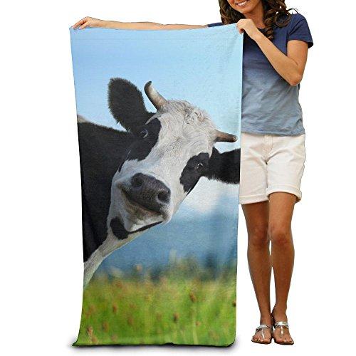 (Miniisoul Bath Towel Funny Cow Logo Creative Patterned Soft Beach Towel 31