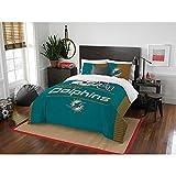 3pc NFL Miami Dolphins Comforter Full Queen Set, Unisex, Orange, Team Spirit, National Football League, Fan Merchandise, Team Logo, Football Themed, Sports Patterned Bedding, Blue