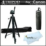 "Professional 72"" Camera Tripod + RS60 Remote Switch For Canon EOS Rebel T5i, T4i, T3i, T2i T3, EOS 60D, EOS 70D DSLR, canon PowerShot G16, SX60HS, SX60 HS Digital Camera (Replaces Canon RS-60e3) ++"