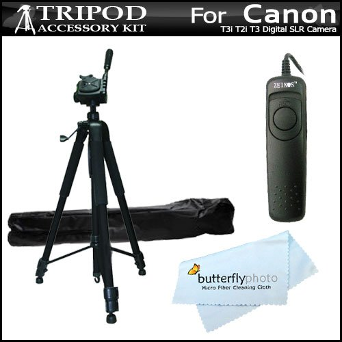 Professional 72 Inch. Camera Tripod + RS60 Remote Switch For Canon EOS Rebel T5i, T4i, T3i, T2i T3, EOS 60D, EOS 70D DSLR, canon PowerShot G16, SX60HS, SX60 HS Digital Camera (Replacement For Canon RS-60e3) + MicroFiber Cleaning Cloth.