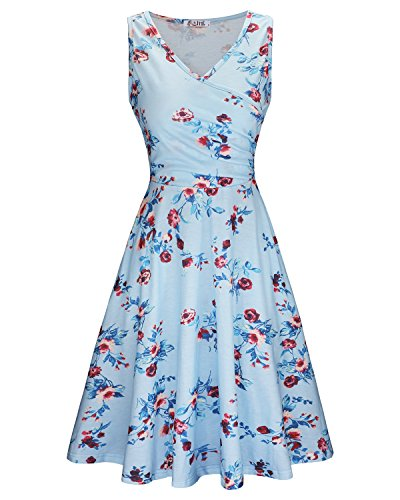 KILIG Women's Floral Print Dress,Casual Sleeveless V Neck A Line Elegant Dresses with Pockets (C018,L)