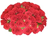 Flowers for Delivery - 50 RED PREMIUM FRESH ROSES. FREE SHIPPING, FREE GIFT MESSAGE by Spring in the Air Luxury Roses.