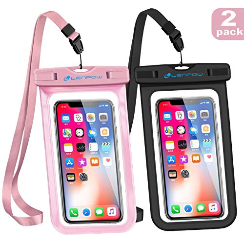 LENPOW Universal Waterproof Case, IPX8 water proof phone Pouch Underwater Cellphone Dry Bag With Neck Strap for iPhone X 8 7 6 6s Plus 5s Samsung Galaxy S9 S8 Edge Note Google Pixel LG HTC Sony MOTO