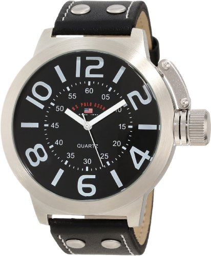 - U.S. Polo Assn. Classic Men's US5207 Silver-Tone Watch with Black Faux Leather Band