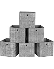 SONGMICS Storage Boxes, Set of 6 Foldable Storage Cubes and Toy Clothes Organiser Bins, Gray