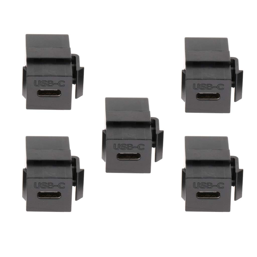 Pack of 5 Type C Module Adapter Insert Plastic USB C Keystone Jack Black