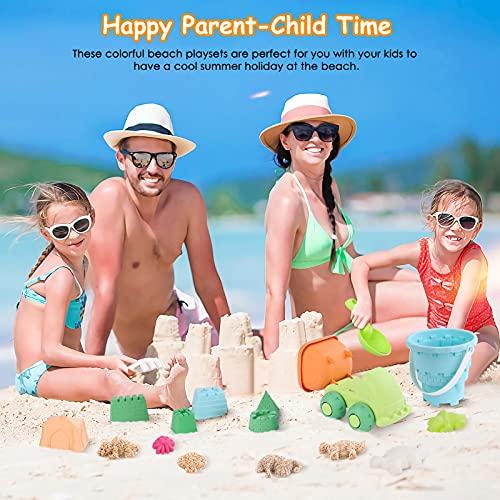 PESUMA Beach Toys for Kids 3-10, 21pcs Sand Toys Including Sand Castle Mold, Bucket, Shovel, Dump Truck, Rake, Mesh Bag Sandbox Toys and Sand Toys for Kids Toddlers Boys Girls Outdoor Indoor Play Gift