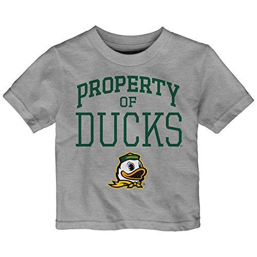 NCAA Oregon Ducks Toddler Team Property Short Sleeve Tee, 2T, Heather Grey