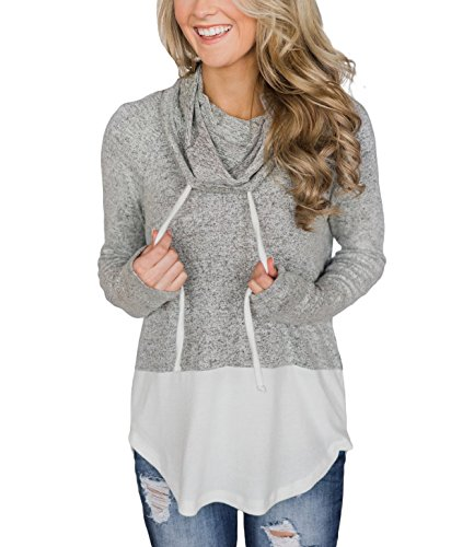 BLENCOT Women's Ladies Long Sleeve Hoodies Tunic Pullover Cowl Neck Lightweight Color Block Hooded Sweatshirt with Drawstring White Gray Small (And Gray 1s Black)