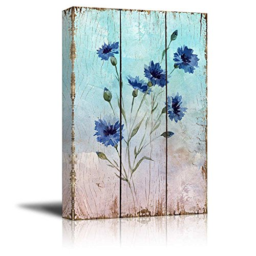 Branches of Blue Watercolor Flowers Over Vintage Wooden Panels Nature