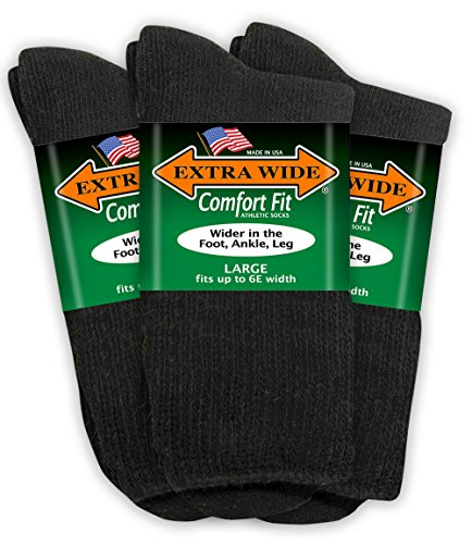 Extra Wide Comfort Fit Athletic Crew (Mid-Calf) Socks for Men - Black - Size 12-16 (up to 6E wide) - 3PK ()
