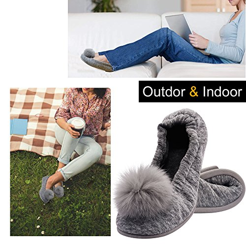 Elasticized Portable grey Slippers Ballerina Women for Wishcotton Sole Outdoor Nonslip w Cozy Indoor Rubber 3 pHgqwxU