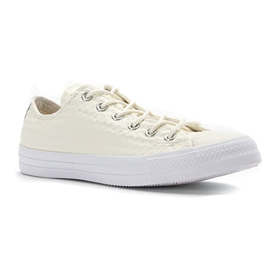 2a0c52db9e6db Converse Women s Baskets Chuck Taylor All Star Ox Cuir Craft Blanc Femme  Trainers Size  3.5