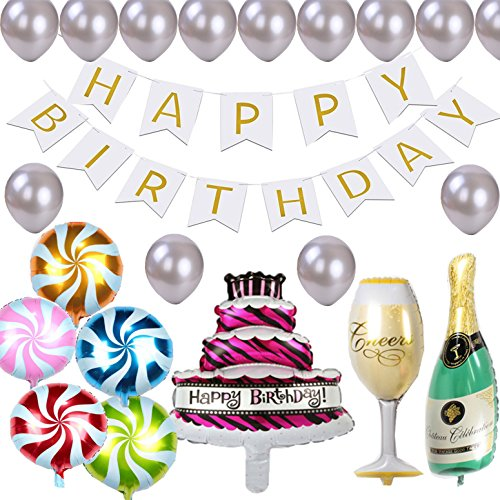 Happy Birthday Banners Decorations, 18'' Round Candy Lollipop, Giant 40'' Cake and Champagne Bottle Goblet Foil Balloons, Unique Design Party Supplies for Both Children and Adults (white)