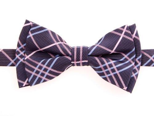 Retreez Tartan Plaid Styles Woven Microfiber Pre-tied Boy's Bow Tie - Dark Purple - 8 - 10 years