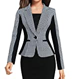 Spirio Women's Lapel One Button Business Office Houndstooth Blazer Suit Jackets M