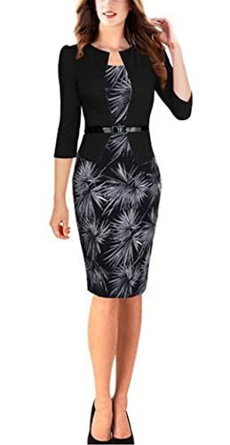 Women's Black 3/4 Sleeve Floral Print One-Piece Wear to Work OL Bodycon Dress