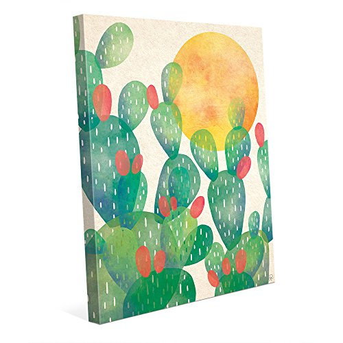 Mexican Prickly Pear (Watercolor Cactus Green: Graphic Painting of Southwestern Mexican Prickly Pear with Sun Wall Art Print on Canvas)