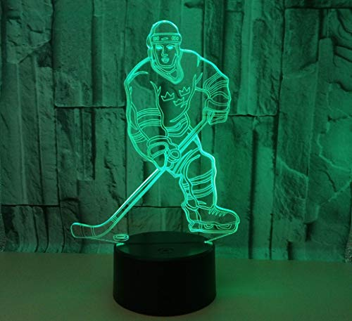 RTYHI New Hockey Player 3D Lamp Led Colorful Touch Lamp 3D Lamp Acrylic Stereo Vision Lamp