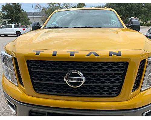 CELYCASY Nissan Titan XD Front Grille Letter Vinyl Decal Insert - 2016-2019 Nissan Titan Front Hood Insert Decals - Vinyl Letter Insert Decal