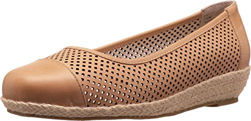 David Tate Women's Nadine Perforated Espadrille,Natural Naked Calfskin,US 7.5 WW