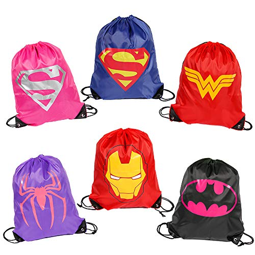 Superdaddy Superhero Drawstring Backpacks for Girls Comic Animation Bags Super Hero Theme Party Favors Supplies Pack of 6]()