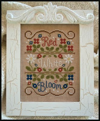 Red White and Bloom Cross Stitch Chart and Free Embellishment