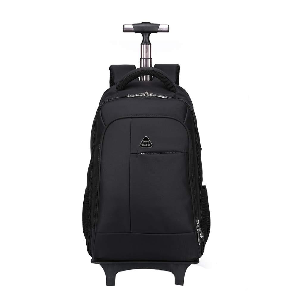 リュックサック、ライアンエアー、BA、フライブ&その他のものを承認した、ラップトップコンパートメントを備えたビジネス用トローリーケース、ダブルユースのバックパックフライト認定手荷物スーツケース。 B07LB2PV4G Black