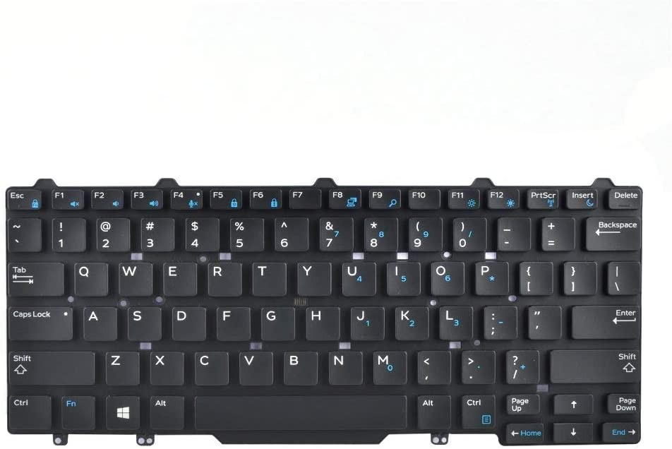 KBR Replacement Keyboard for Dell Latitude E5450 E5470 E7450 E7470, Latitude 3340 Laptop Without Pointer No Backlight US Layout