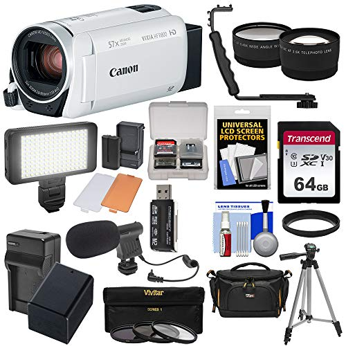 - Canon Vixia HF R800 1080p HD Video Camera Camcorder (White) with 64GB Card + Battery & Charger + Case + Tripod + 3 Filters + LED + Mic + 2 Lens Kit