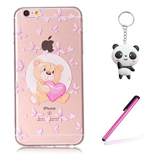 iPhone 6 6S Coque Ours d'amour Premium Gel TPU Souple Silicone Transparent Clair Bumper Protection Housse Arrière Étui Pour Apple iPhone 6 6S + Deux cadeau