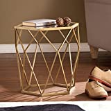 Southern Enterprises Joelle Geometric Accent Table, Soft Gold Finish with Antique Mirror For Sale