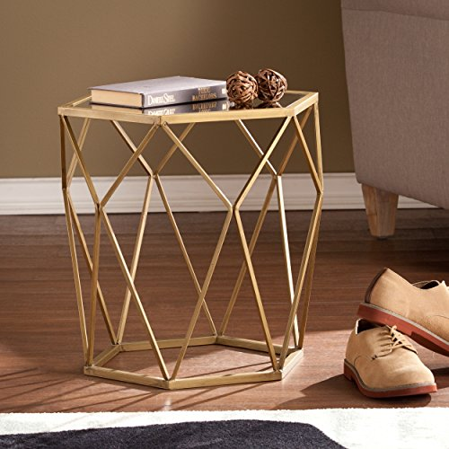 Joelle Geometric Accent End Table - Anitque Gold Metal Finish w/ Glass Top - Polygonal Design