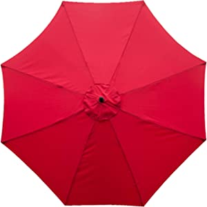 Sunnyglade 9ft Patio Umbrella Replacement Canopy Market Umbrella Top Fit Outdoor Umbrella Canopy (Red)