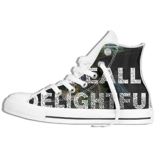 I'm Really Delightful High-Cut Canvas Shoes Unisex Stylish Sneaker All-Season Casual Hi-Top Trainers For Men And Women ColourName Sizekey (Halloween Party Im Holiday Park)