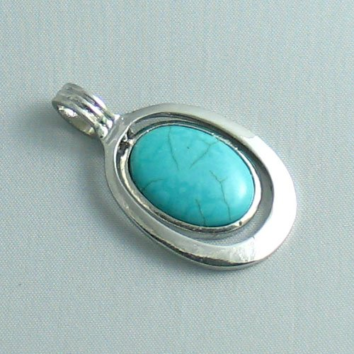 Silver Plated Turquoise Double Circle Pendant - Ladies Necklace Charm with December Birthstone (1 inch)