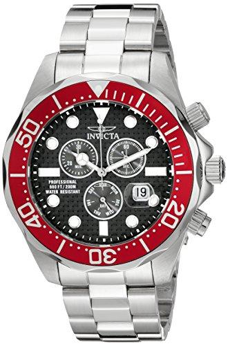 (Invicta Men's 12570 Pro Diver Chronograph Black Carbon Fiber Dial Stainless Steel Watch)