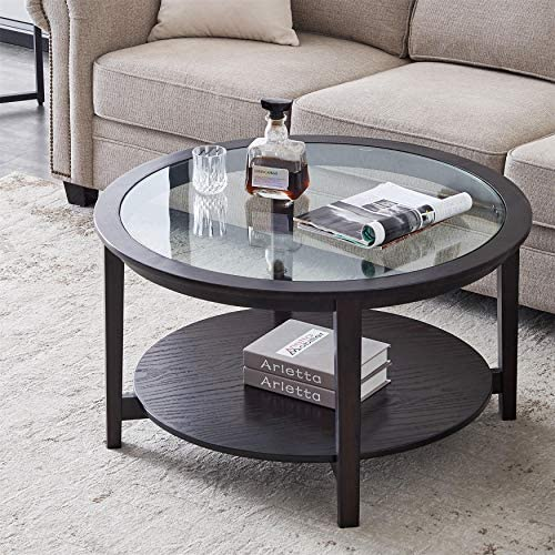 Solid Wood Round Coffee Table Accent Table