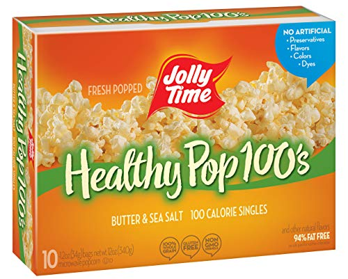 JOLLY TIME 100 Calorie Healthy Pop Butter Microwave Popcorn Mini Bags, 10 Count Boxes (Pack of 6)