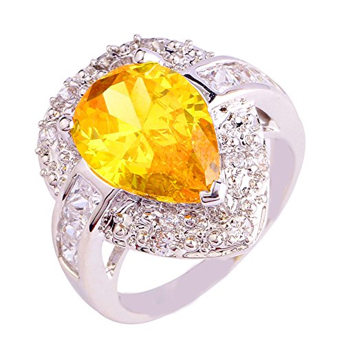 Empsoul 925 Sterling Silver Natural Novelty Created 5ct Pear Cut Citrine Topaz Halo Engagement Ring