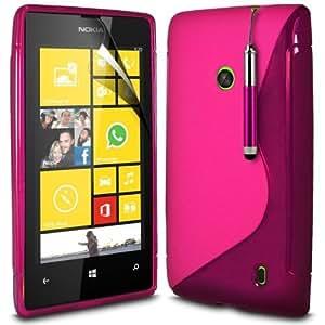 (Rosa) Nokia Lumia 520/525 Línea DE Protección Onda Gel piel cubierta retráctil Capacative Pantalla Táctil Lápiz Óptico & Protector de pantalla LCD Protector de Spyrox